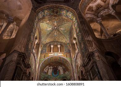 RAVENNA, ITALY - OCTOBER, 2019: Interior of San Vitale basilica in Ravenna with famous mosaics, World UNESCO heritage
