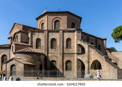 Ravenna, Italy - Sept 11, 2019: Famous Basilica di San Vitale, one of the most important examples of early Christian Byzantine art in western Europe, in Ravenna, region of Emilia-Romagna, Italy