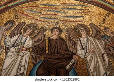 Ravenna, Italy - Sept 11, 2019: Interior of Basilica of San Vitale. Detail of the mosaics of the apse: the Redeemer, St. Vitale and the Bishop Ecclesius