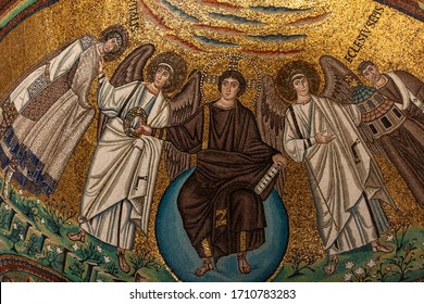 Ravenna, Italy - Sept 11, 2019: Interior of Basilica of San Vitale, which has important examples of early Christian Byzantine art and architecture. Detail of the mosaics of the apse