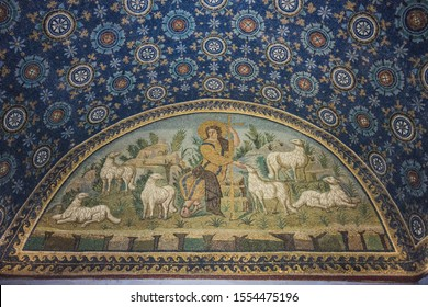 RAVENNA, ITALY - September 11, 2019: Travel view of Ravenna featuring Mausoleum Galla Placidia mosaic stars sky cross ceiling. The image location is Emilia Romagna in Italy, Europe.