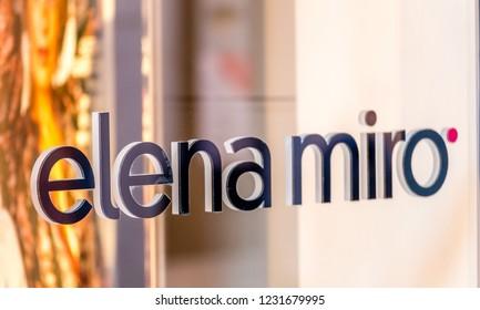 RAVENNA, ITALY - SEPTEMBER 12, 2018: light is enlightening  ELENA MIRO logo on storefront