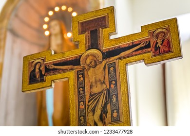 RAVENNA, ITALY - SEPTEMBER 12, 2018: light is enlightening crucifixion of Jesus Christ in Church of Saint Francis