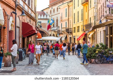 RAVENNA, ITALY - SEPTEMBER 19, 2018: tourists walking in historical center of Ravenna