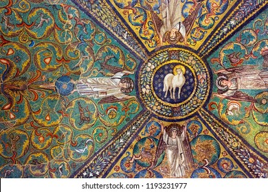 Ravenna, Italy - September 19, 2018: Ceiling of Basilica of San Vitale in Ravenna. Detail of ancient Byzantine mosaic.