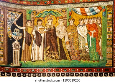 Ravenna, Italy - September 19, 2018: Mosaic of Empress Theodora and attendants. Byzantine art from Basilica San Vitale in Ravenna.
