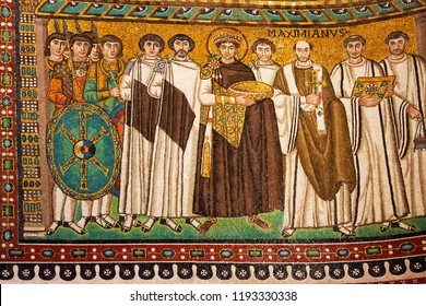 Ravenna, Italy - September 19, 2018: Byzantine mosaic of Emperor Justinian and his retinue. Mosaic from Basilica San Vitale in Ravenna.