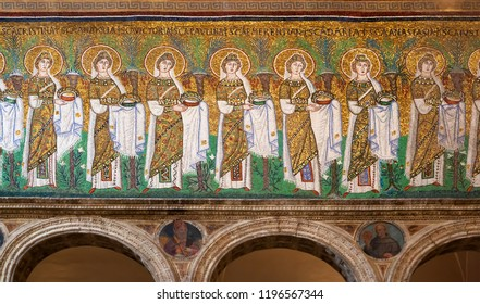 Ravenna, Italy - September 19, 2018: Procession of holy women in Sant'Apollinare nuovo