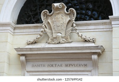 Ravenna, RA, Italy - June 5, 2016:  Inscription in Latin which means the tomb of the poet Dante