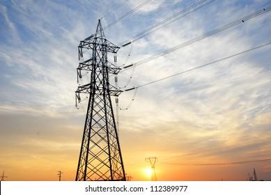 Ravenna, transmission lines at sunset.