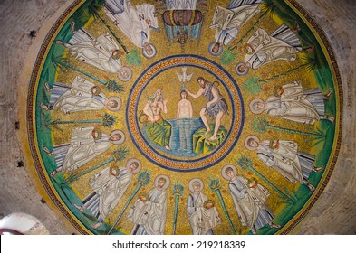 Ravenna,Italy - CIRCA AUGUST, 2013 - 1500 years old Byzantine ceiling mosaic of the Arian baptistery. The baptistery is one of the eight structures in Ravenna registered as UNESCO World Heritage Sites