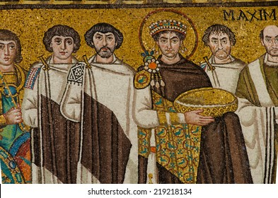 Ravenna,Italy - CIRCA AUGUST, 2013 - San Vitale, famous mosaic.Mosaic of the Emperor Justinian flanked by archbishop Maximian. 1500 years old Byzantine mosaics.