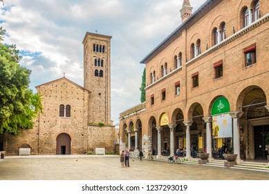 RAVENNA,ITALY - SEPTEMBER 24,2018 - Basilica of San Francesco in Ravenna. Ravenna is the capital city of the Province of Ravenna, in the Emilia-Romagna region of Northern Italy.