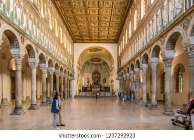 RAVENNA,ITALY - SEPTEMBER 24,2018 - View at the interior of New Basilica of Saint Apollinaris in Ravenna. Ravenna is the capital city of the Province of Ravenna, in the Emilia-Romagna.