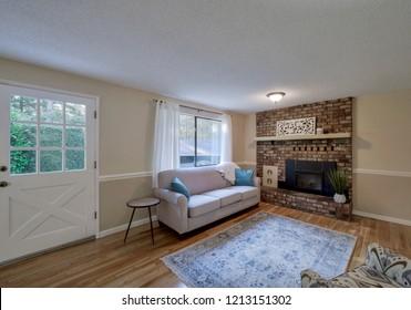 Ravensdale, WA / USA - Oct. 21, 2018: Modern living room interior