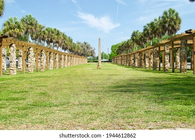 Ravine Gardens State Park in Palatka, Florida. Historic Gardens and Court of States obelisk dedicated to Franklin D. Roosevelt constructed by the Works Progress Administration amid Great Depression.