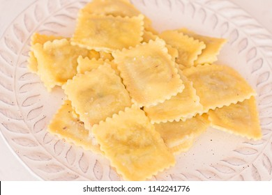 Ravioli with butter.