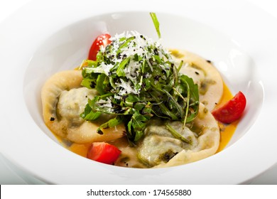 Ravioli with Cheese and Spinach and with Pumpkin Cream