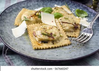 Ravioli with Parmesan on Plate