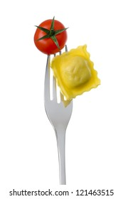 ravioli pasta and cherry tomato on a fork against a white background