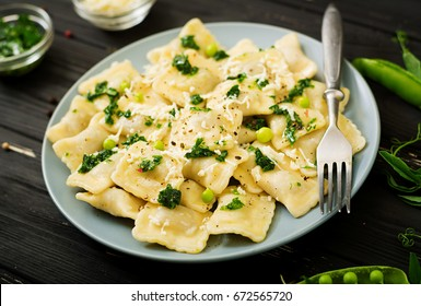 Ravioli with ricotta and young green peas