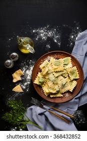 ravioli with spinach and ricotta cheese. Parmesan. in a plate