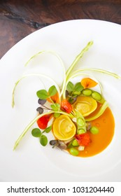 Ravioli with vegetable, creative restaurant meal concept, haute couture food