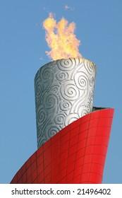 RAW - 2008 Beijing Olympic Torch on Burning