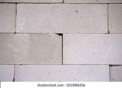 Raw AAC autoclaved aerated concrete wall, front view, editable background