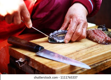 Raw Abalone slicing