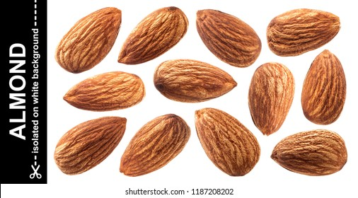 Raw almond isolated on white background with clipping path. Nuts collection.