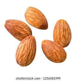 Raw Almond. Almond nut isolated. Full depth of field.Nuts collection.