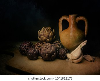 Raw artichokes, Mediterranean vegetable, on rustic hessian with garlic and terracotto amphora urn. Still life, light painting with texture. Artistic.