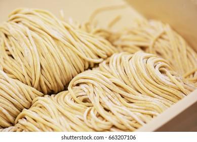 Raw asian ramen noodle texture - In Japan ramen restaurant.