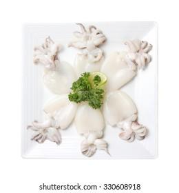 Raw babies cuttlefish isolated on white background