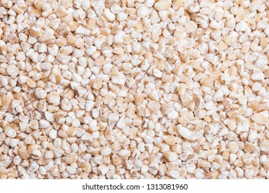 Raw barley grain texture. Food grains pattern in studio.
