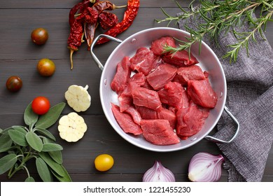 raw beef meat on gray background