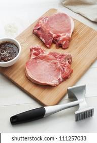 Raw beef or pork steak pounding
