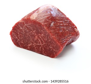 raw beef rump block meat isolated on white background