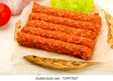 Raw beef sausages for grill