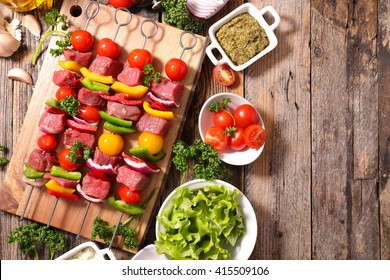 raw beef skewer and vegeteable