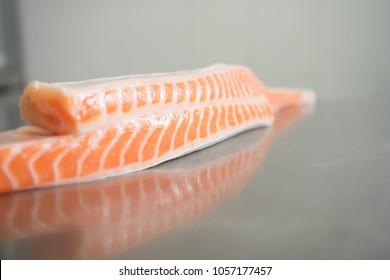 Raw belly fat fresh salmon , Salmon toro for sashimi & sushi.