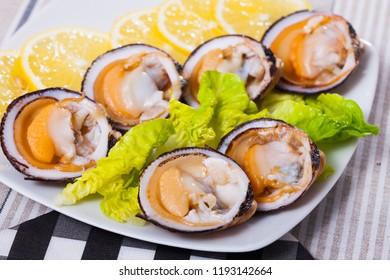Raw bivalve mollusks (European bittersweet) served with lemon on plate