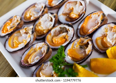 Raw bivalve shellfishes (European bittersweet) served with lemon on plate