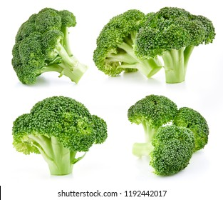 raw broccoli collection isolated on white background