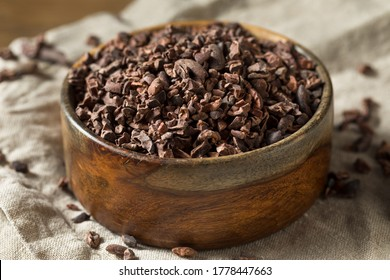 Raw Brown Organic Chocolate Cocao Nibs in a Bowl