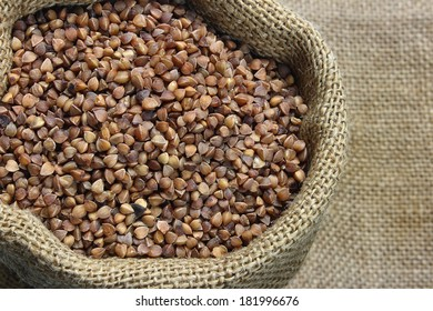 Raw buckwheat in canvas sack