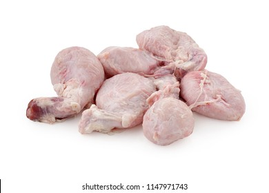 raw bull testicles on white background