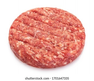 raw burger cutlet isolated on white background closeup