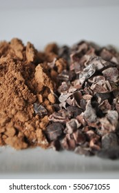 Raw cacao powder and crushed cocoa beans